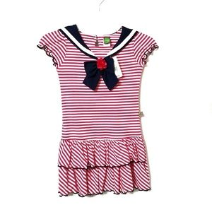 Dollie & Me Girls Sailor Dress Size 7 Pink White